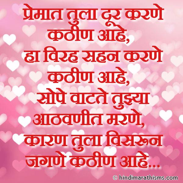 Tula Visrun Jagne Kathin Aahe PREM CHAROLI MARATHI Image